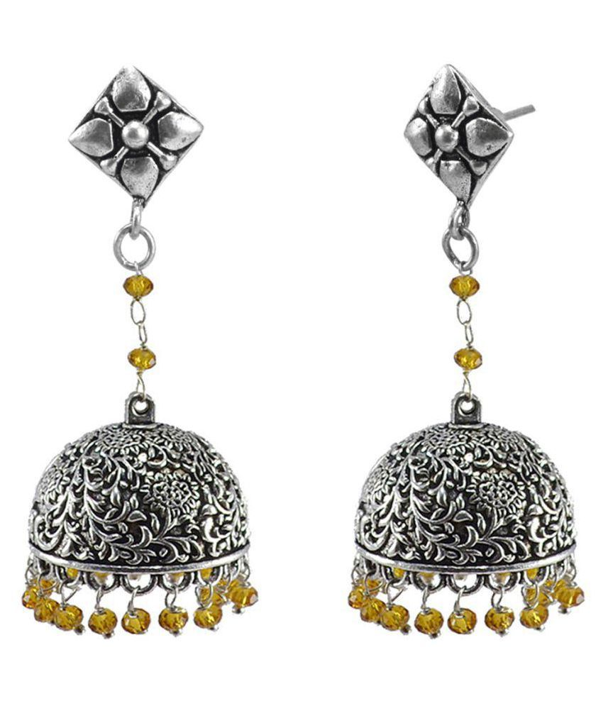 Black Metal Studs Jhumki With Citrine Crystal-Jaipur Jhumkas-Unique Earrings-Dome Earring-Jaipurn Wedding Jewellery Silvesto India PG-124868