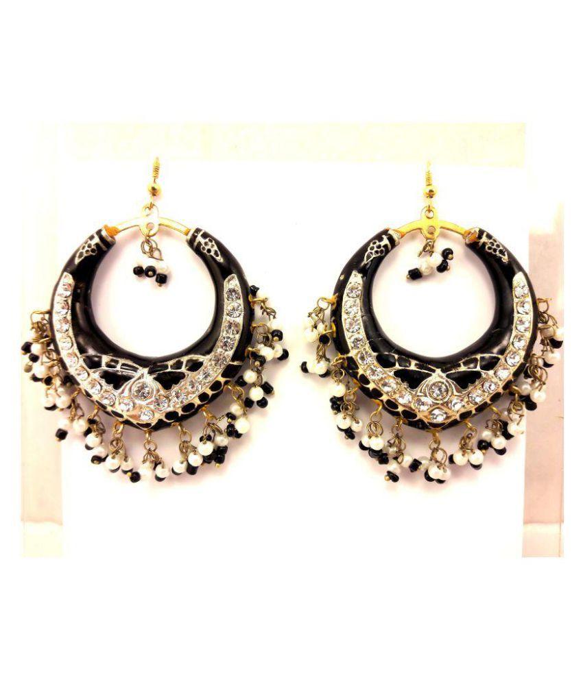 Dineshalini Creations Ethnic Black Lac Chandbali Earrings