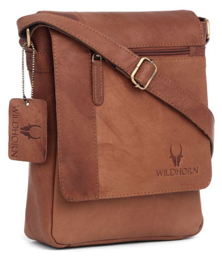WildHorn Tan Casual Messenger Bag