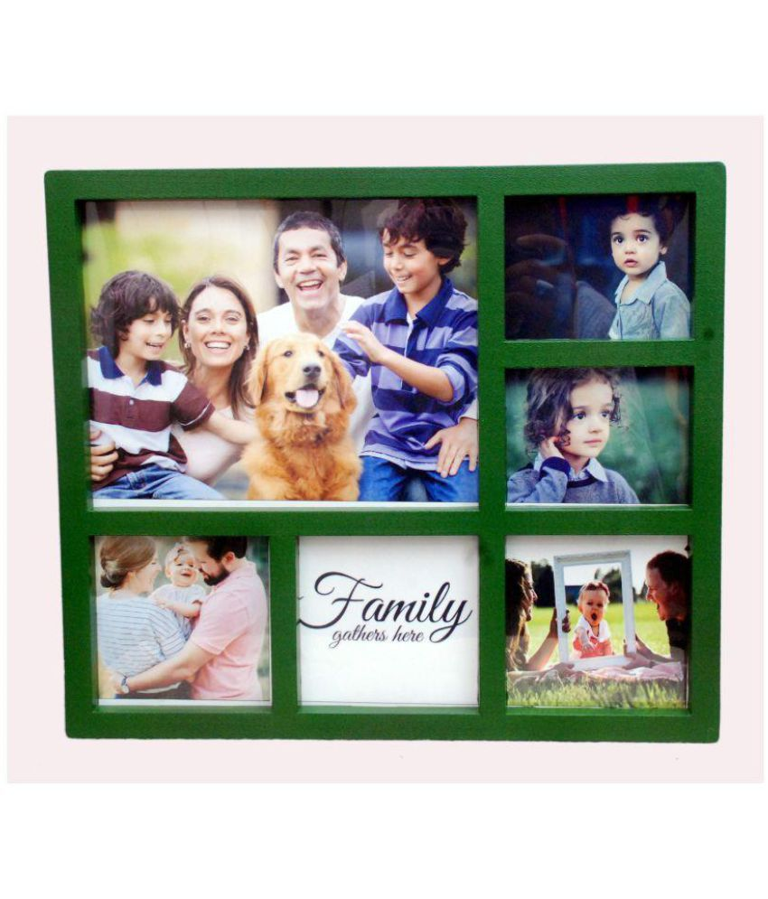 Nigam Online Solution Plastic Wall Hanging Green Collage Photo Frame - Pack of 1