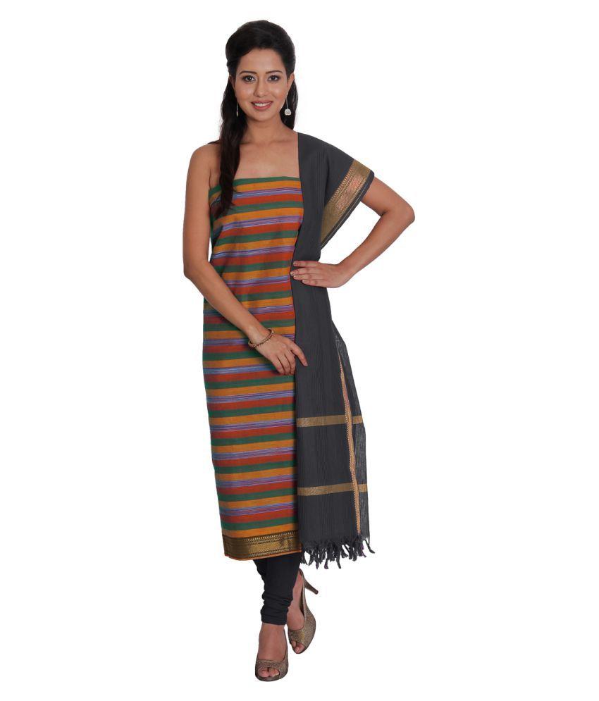 Platinum Multicoloured Cotton Dress Material