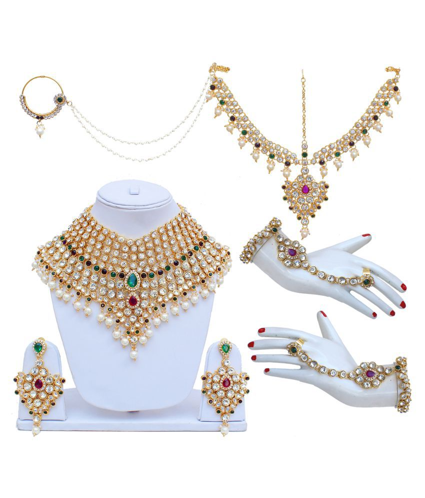 Lucky Jewellery  Purple Green Bridal Dulhan Wedding & Engagement Necklace set With Mang Tikka