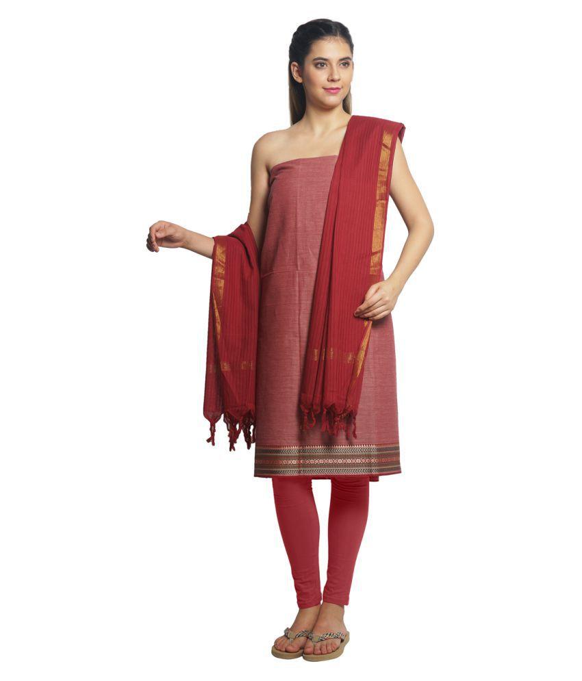 Pratamika Red Cotton Dress Material