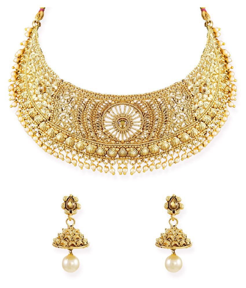 Zaveri Pearls Precisely Designed Traditional Choker Necklace Set