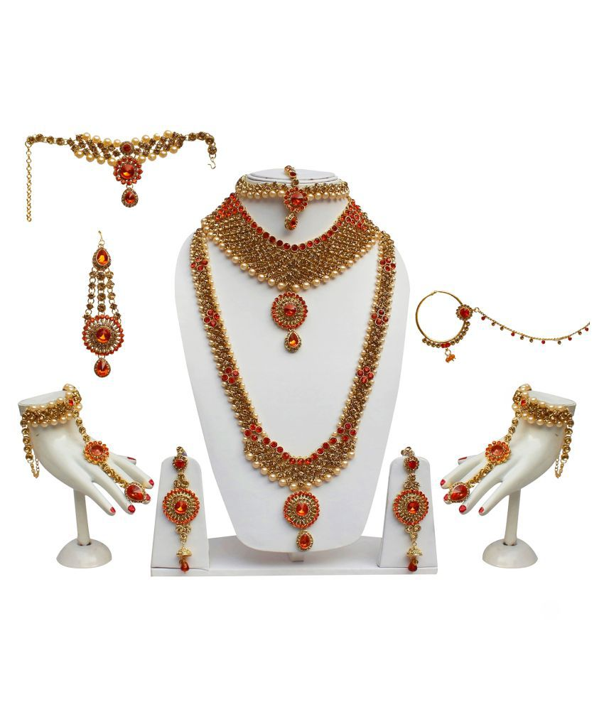 Lucky Jewellery Designer Golden Color Gold Plated Bridal Jewellery Set For Girls & Women