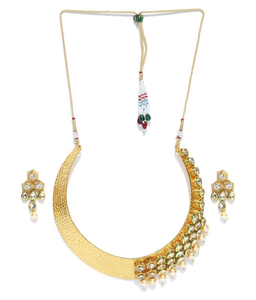 3958b4cc39d83 Zaver Pearls Gold-Toned Hasli Kundan Necklace Set-ZPFK6585