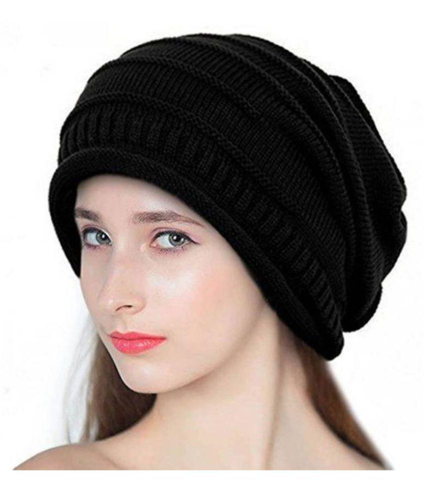 d201fd1621e69 Babji Self Design Black Slouchy woolen Long Beanie Cap  Buy Online at Low  Price in India - Snapdeal