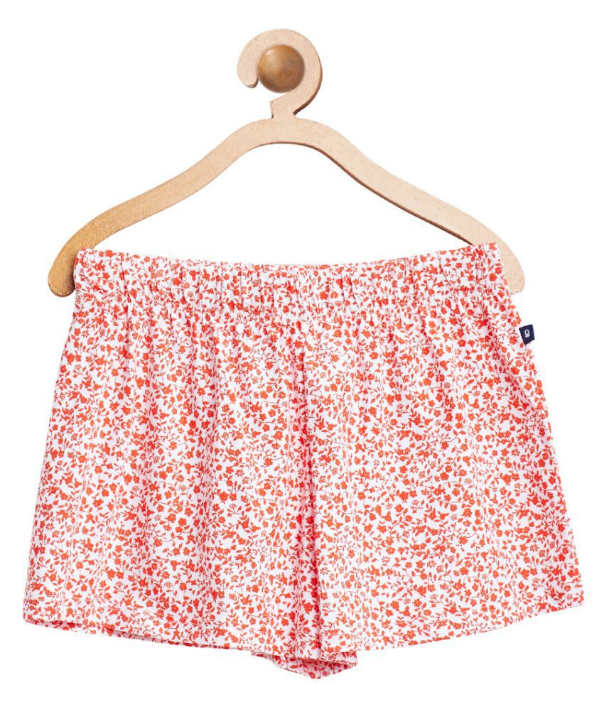 United Colors of Benetton Red Printed Knit Shorts - 16P3A4UI0248G75JXL