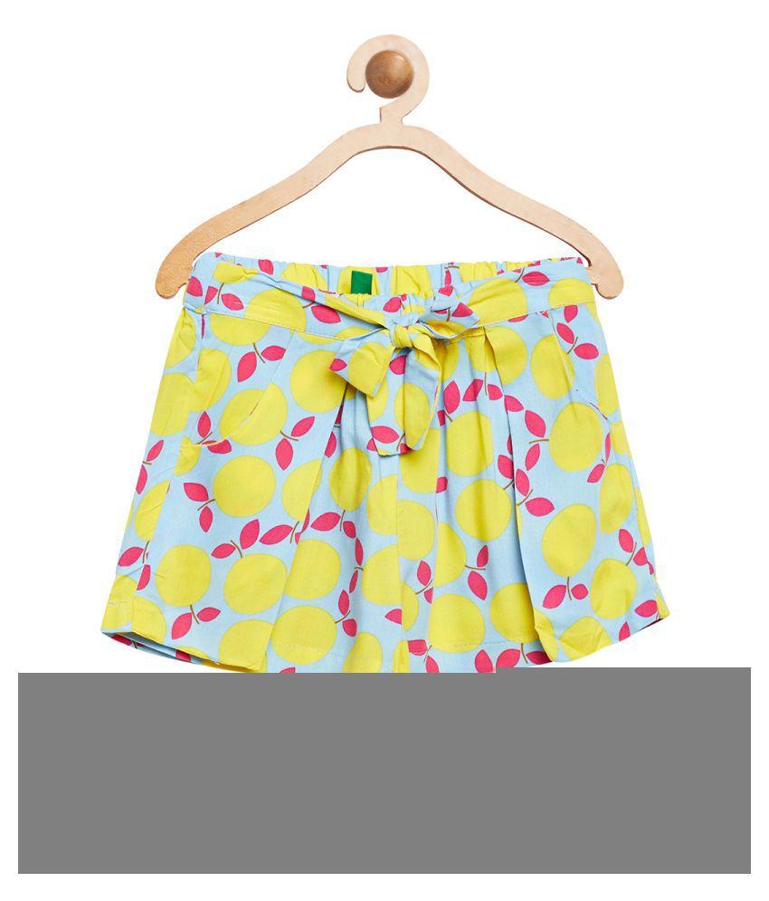 United Colors of Benetton Yellow Lemon Printed  Shorts - 16P4VISC0146I901M