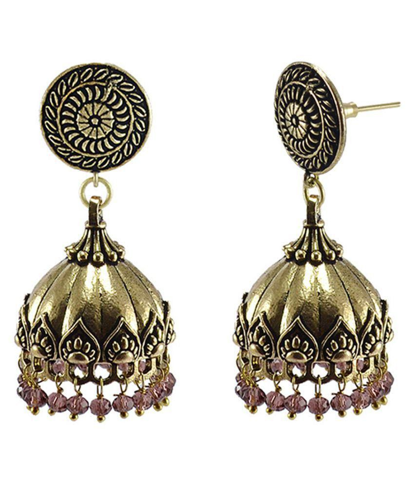 Explicative Amethyst Crystal Alloy Oxidized Traditional Round Jhumki Earrings-Jaipur Jewellery With Tribal Collection By Silvesto India PG-128265