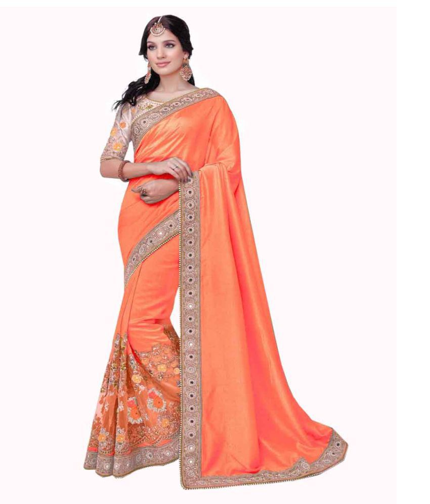 Fashion Founder Orange Georgette Saree