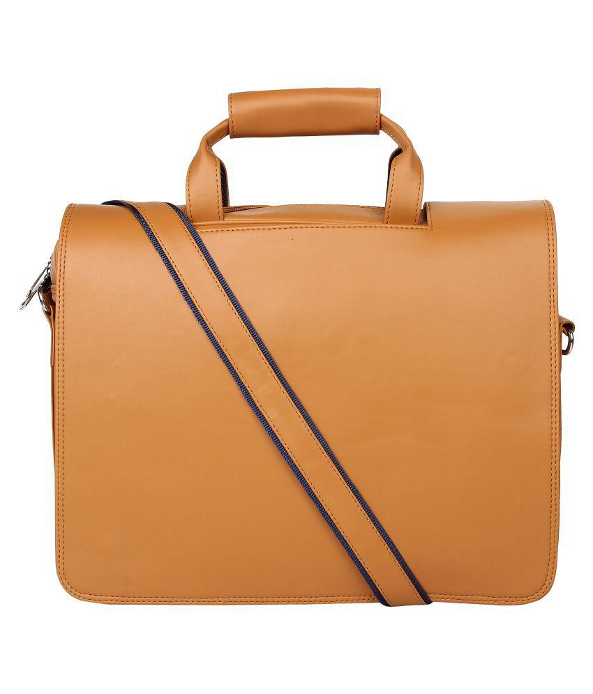 STYLESENSE Tan P.U. Office Messenger Bag