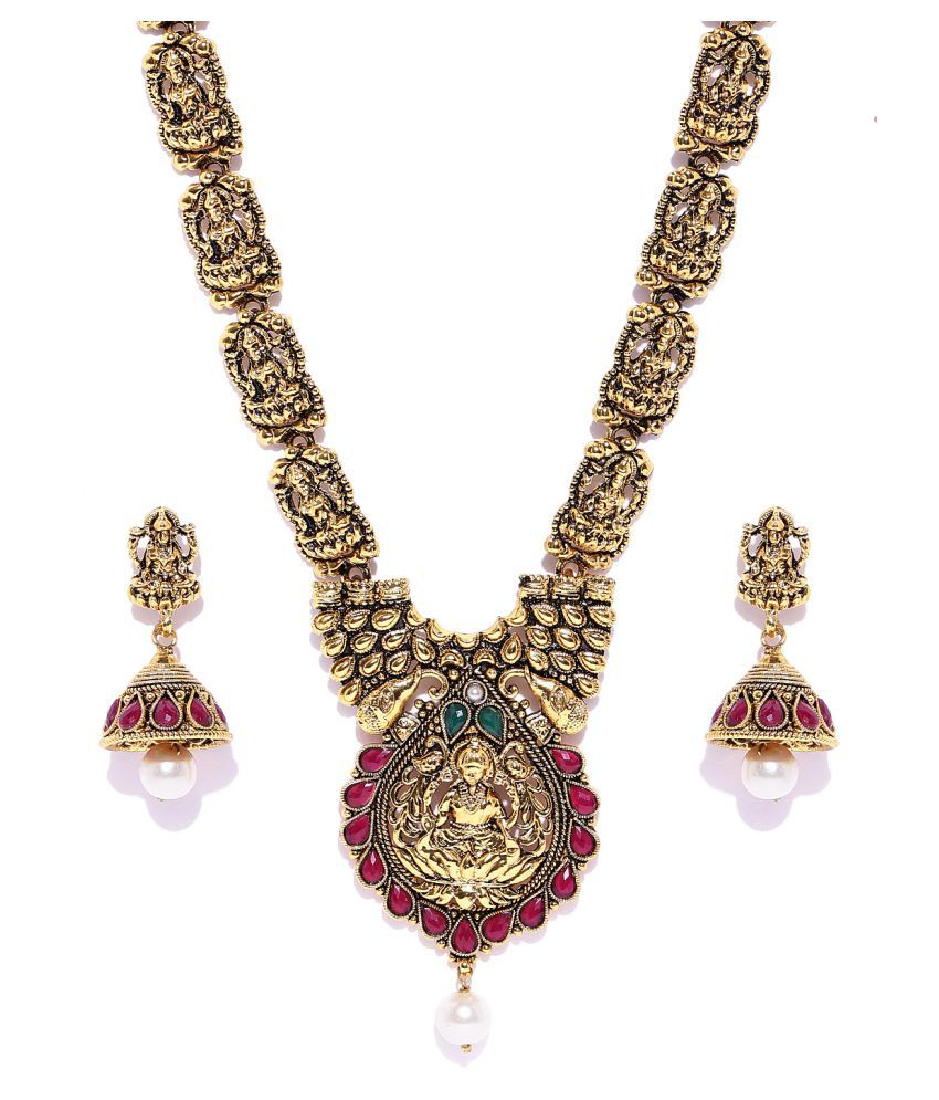 Zaveri Pearls Antique Gold Tone Goddess Temple Necklace Set-ZPFK6764
