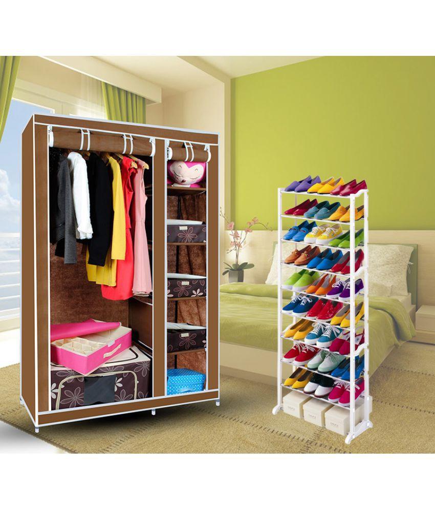Elegant Portable Brown Non-Woven Canvas Fabric Foldable/Collapsible Double Door Wardrobe Organizer + 10 Tier Shoe Rack - Combo