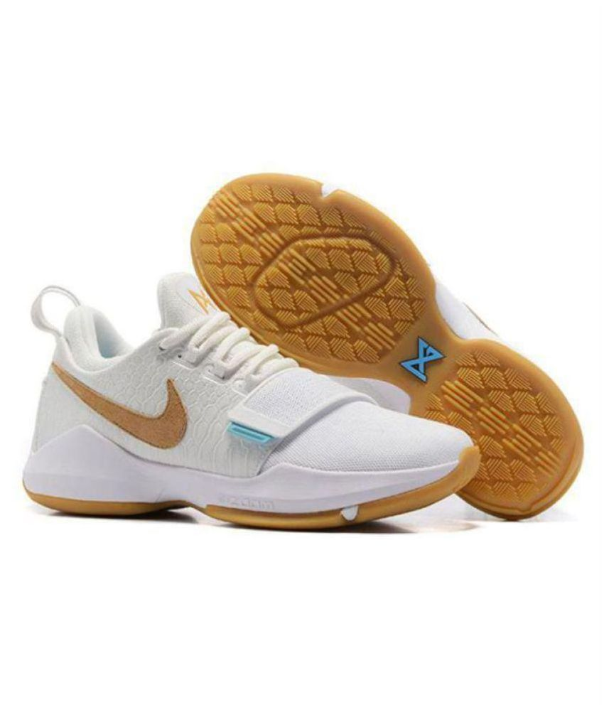 huge discount 54215 a7c76 Nike PG 1 PAUL GEORGE IVORY White Basketball Shoes
