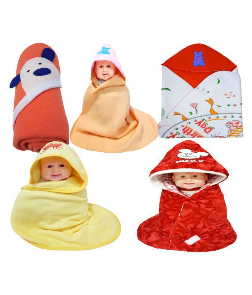 BRANDONN Multi-Colour Flannel Baby AC Blanket ( 66 cm - 66 cm- 5 pcs)