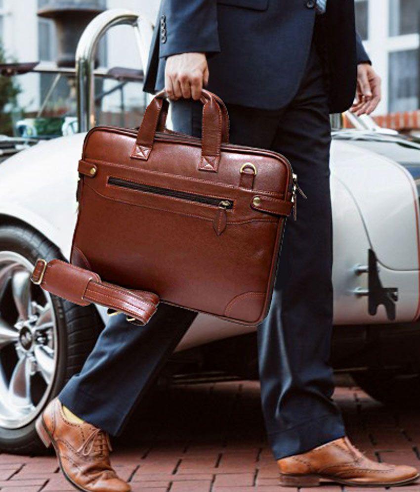 Home Story Brown P.U. Leather Office Laptop Bag- 15.6 Inch Sling Bag For Men & Women/Side Bag Cross Bag Leather Bag Men Man Side Bag Gents Bag Men Side Bag One Side Bag Men Carry Bag Men