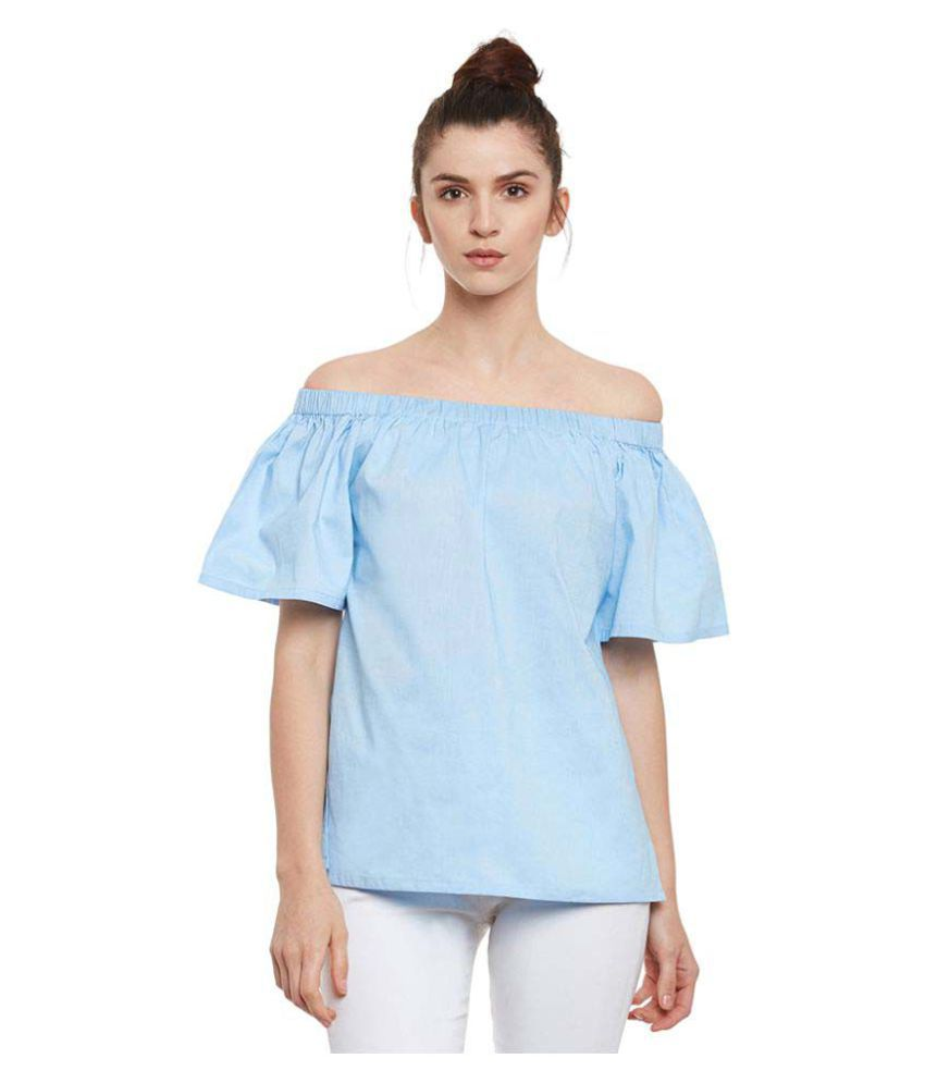 Miss Chase Cotton Regular Tops   Blue