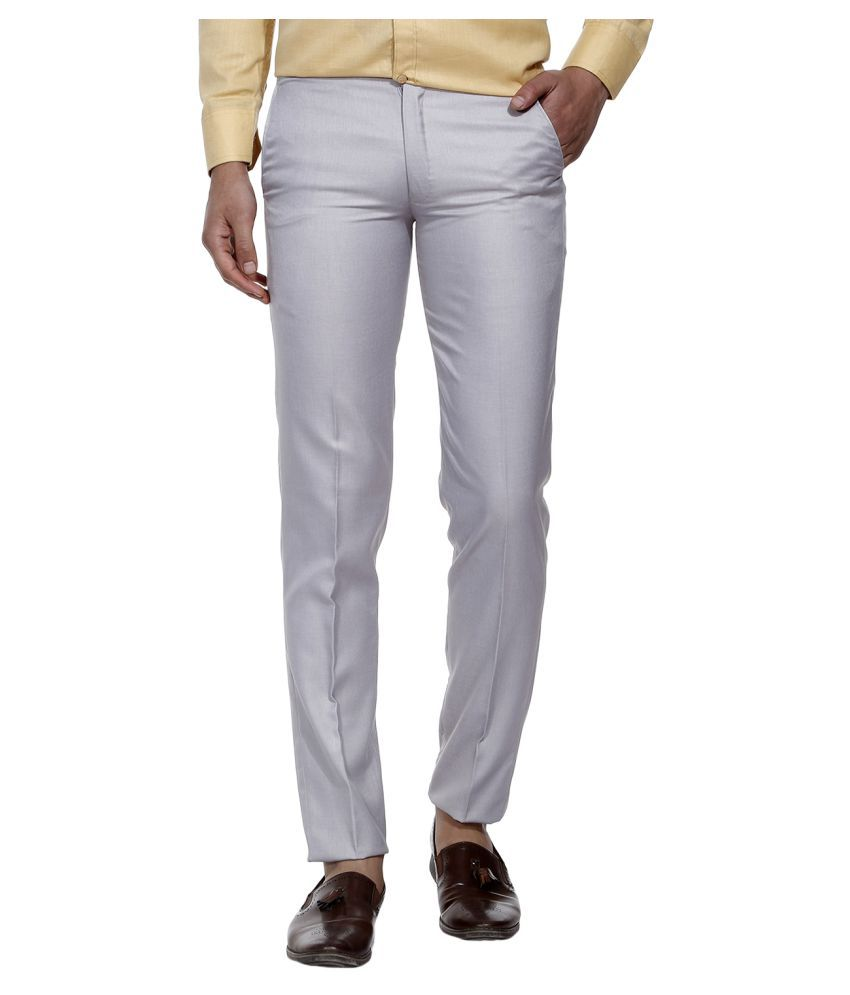 SHAURYA-F Grey Slim -Fit Flat Trousers