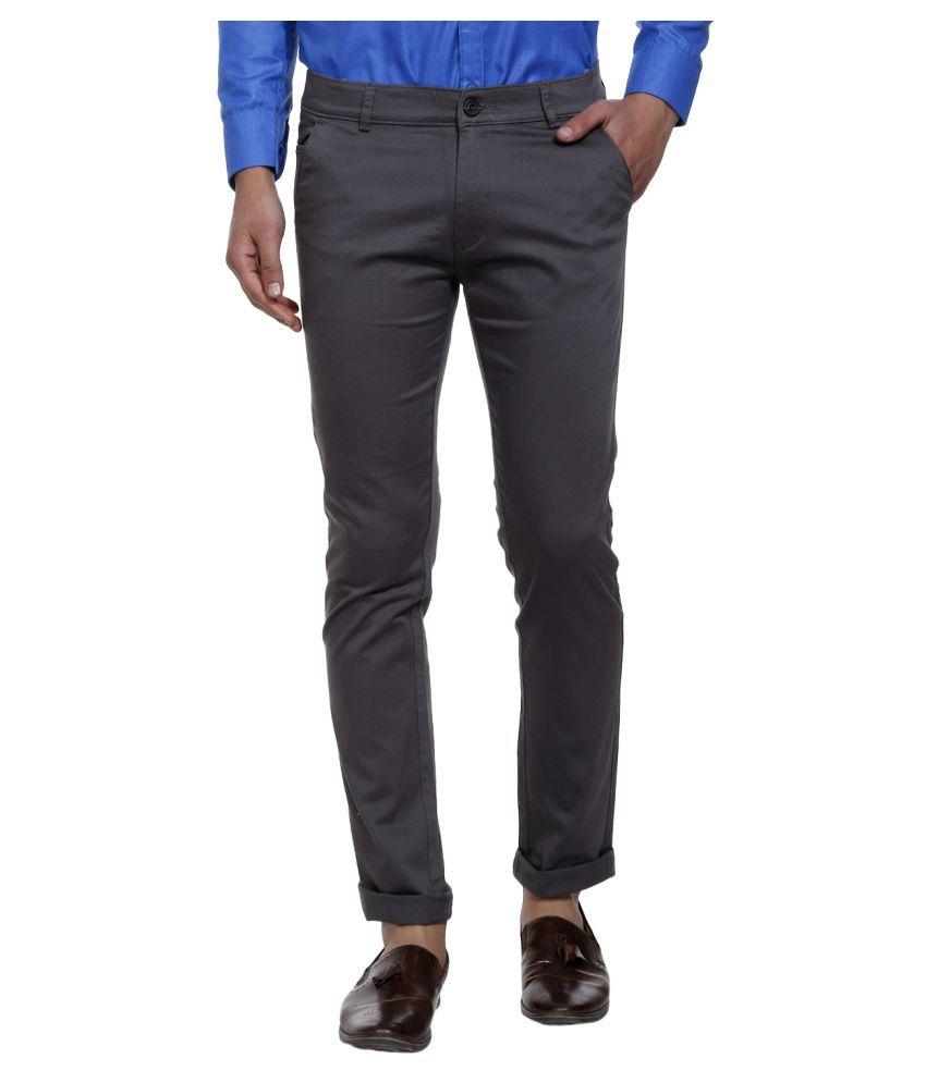 SHAURYA-F Grey Slim -Fit Flat Trousers