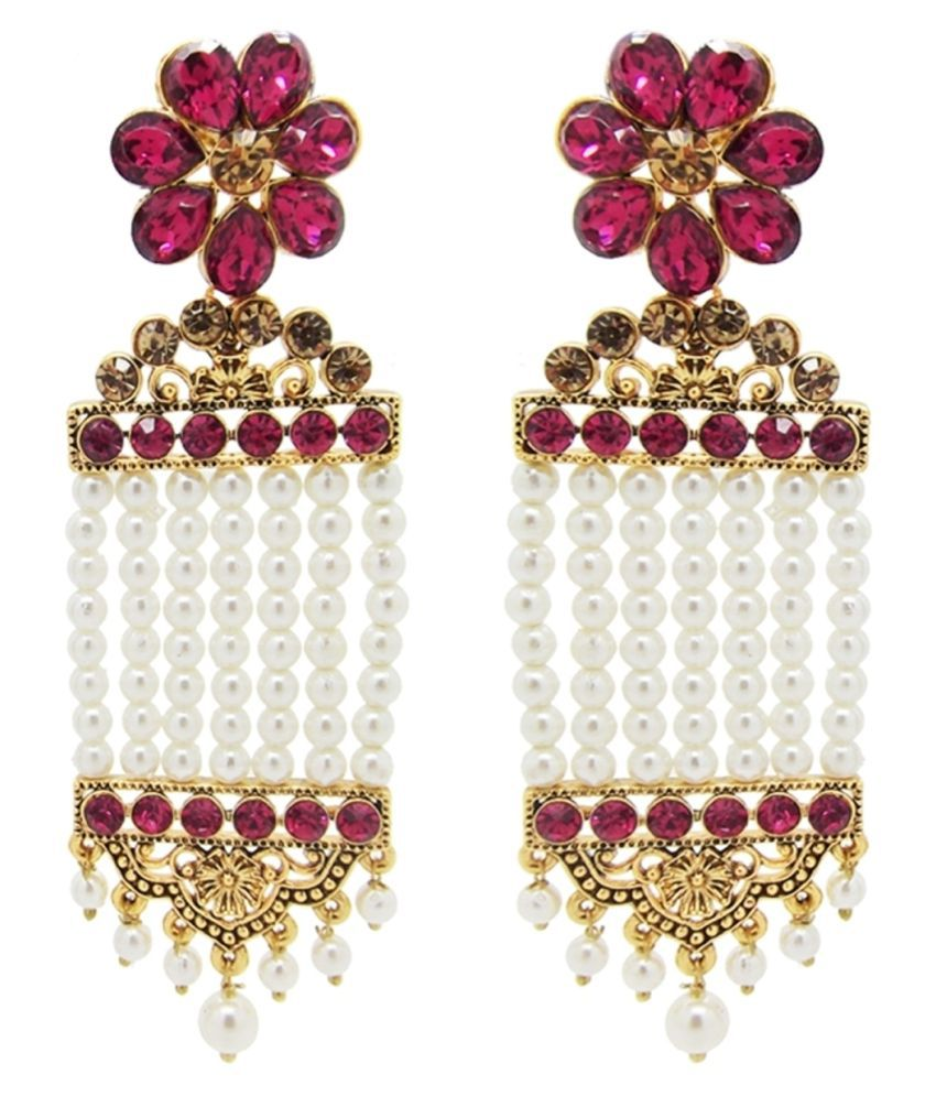 9blings Bollywood Look Dark Pink CZ long Pearl Jhoomar Earrings