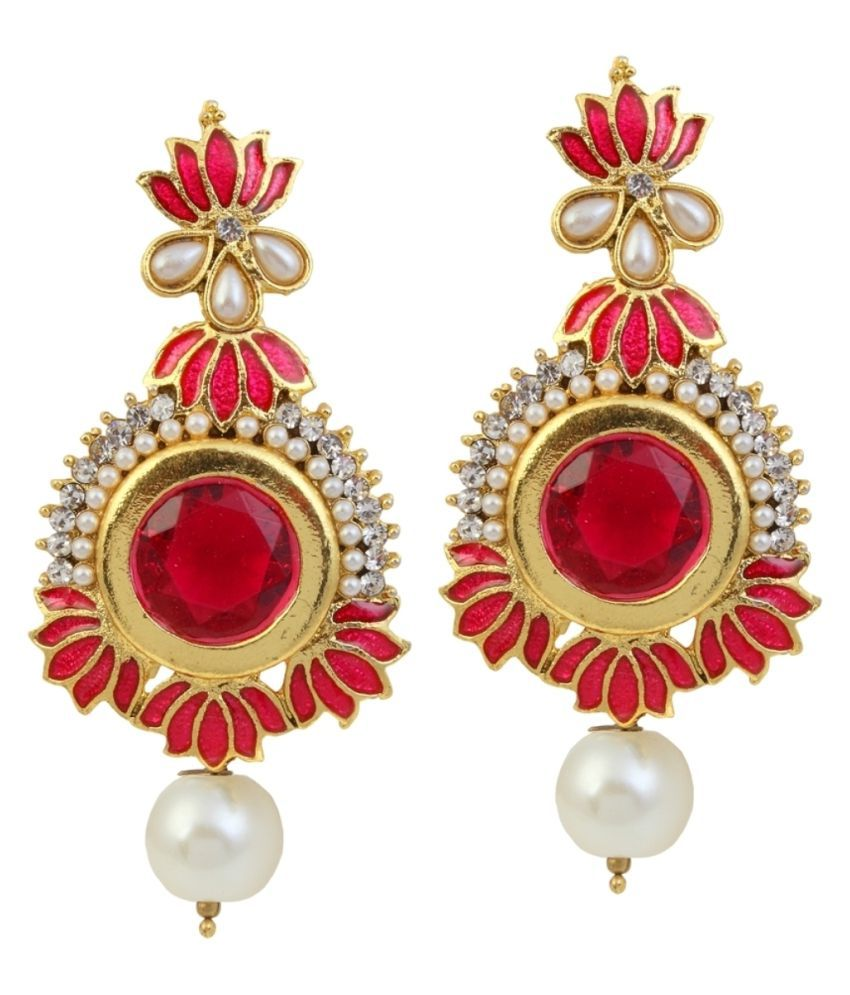9blings Lotus design Red Meenakari Pearl CZ Gold Plated Earrings