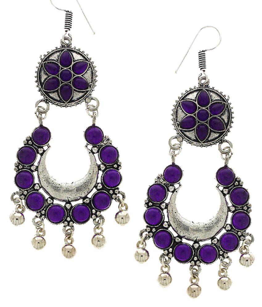 Anuradha Art Navy Blue Colour Chandbali Styled Fancy Party Wear Oxidised Long Earrings For Women/Girls