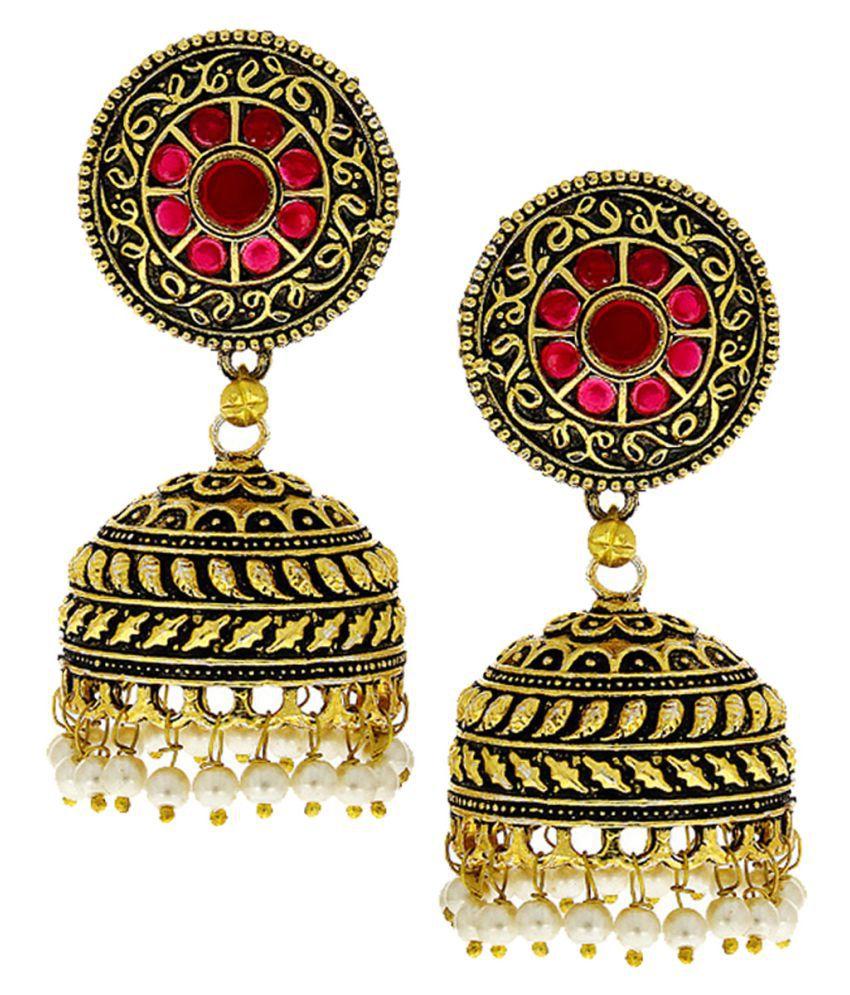 Anuradha Art Red Colour Classy Glamour Look Designer Oxidised Jhumki/Jhumkas Earrings For Women/Girls