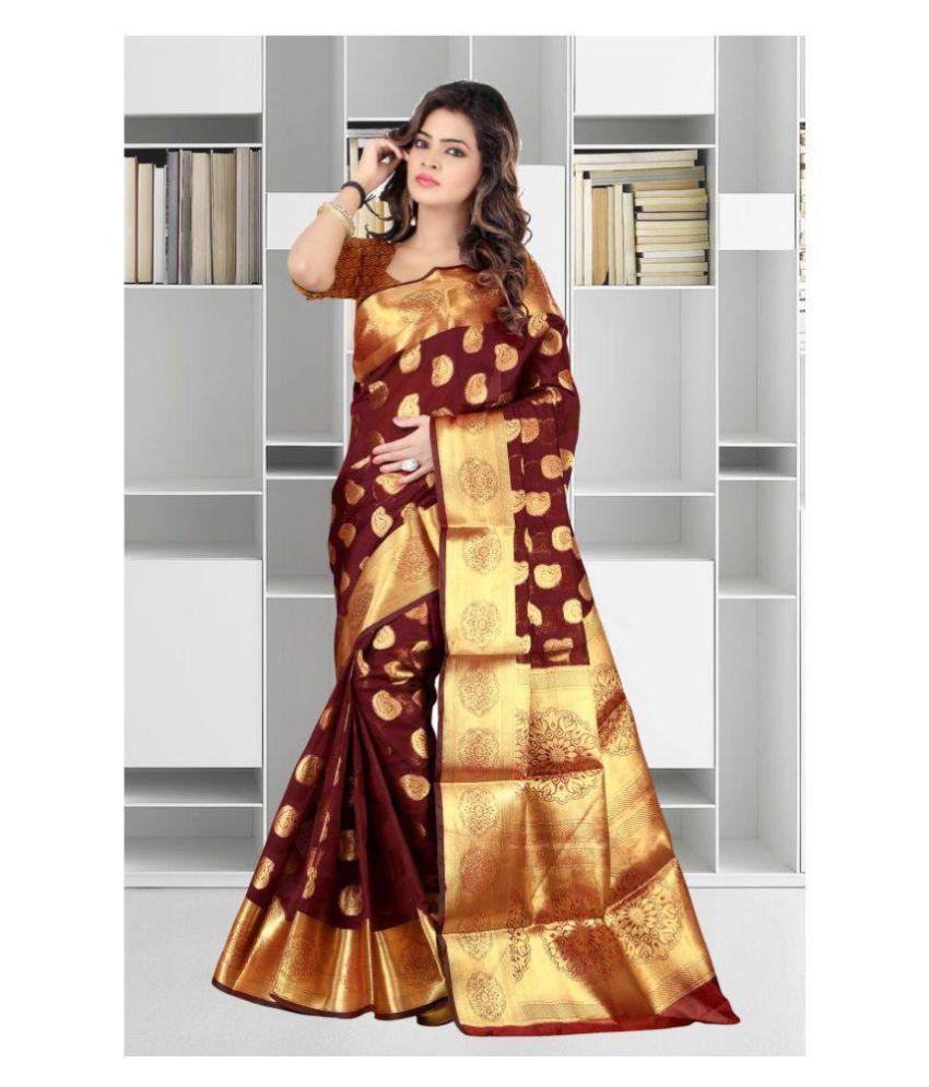 Gazal Fashions Maroon and Brown Banarasi Silk Saree