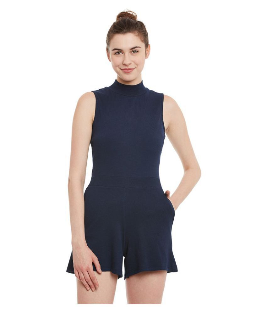 Miss Chase Cotton Navy Jumpsuits