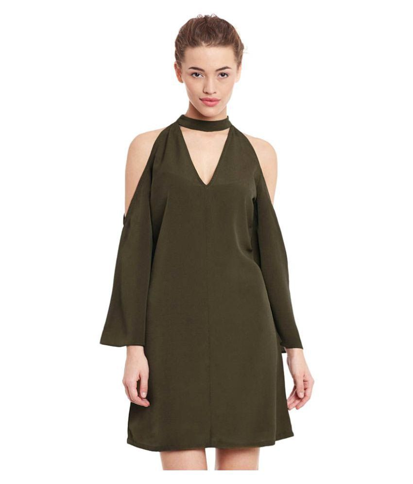 Miss Chase Polyester Olive Green Dresses