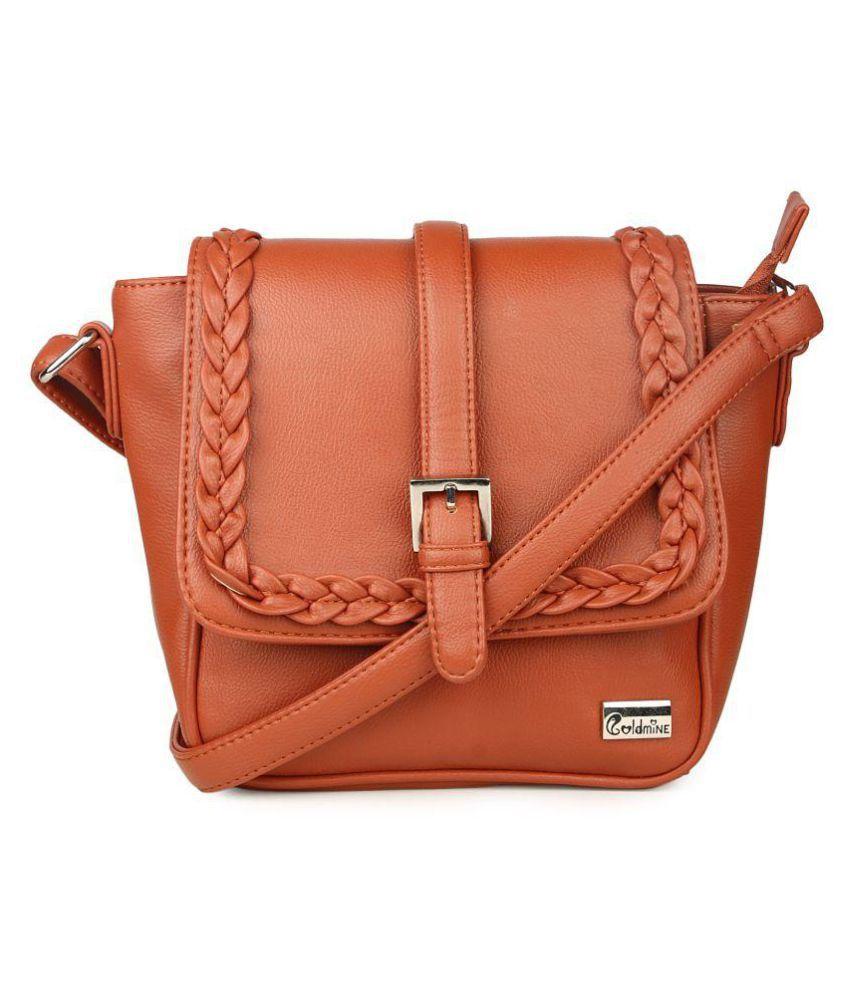 GoldMine Brown P.U. Sling Bag