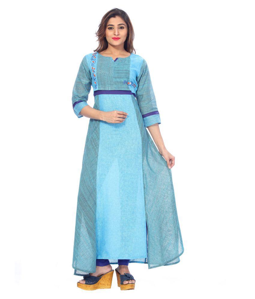 Payal Blue Cotton A-line Kurti