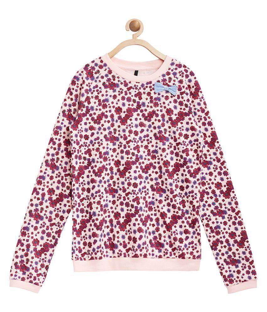 United Colors of Benetton Peach Floral Printed Sweatshirt - 16A3P67C12ACI901EL