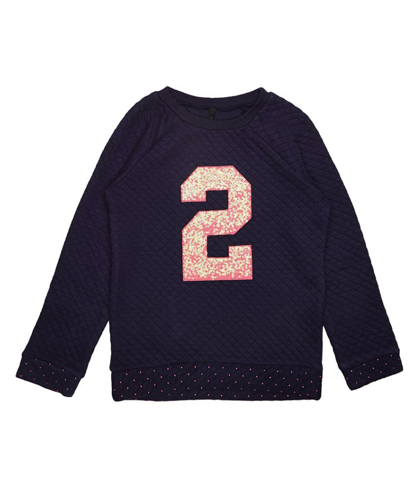 United Colors of Benetton Quilted Sweatshirt With 2 In Sequence - 16A3QT6C12AJIK25L