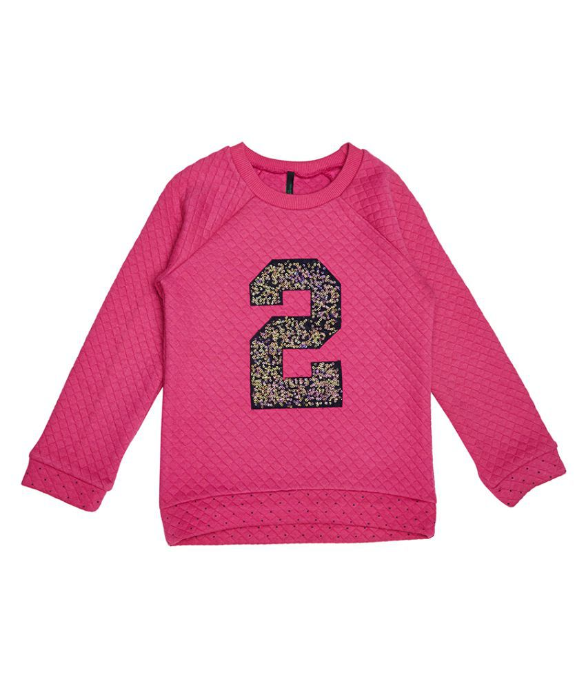 United Colors of Benetton Quilted Sweatshirt With 2 In Sequence - 16A3QT6C12AJIK20XX