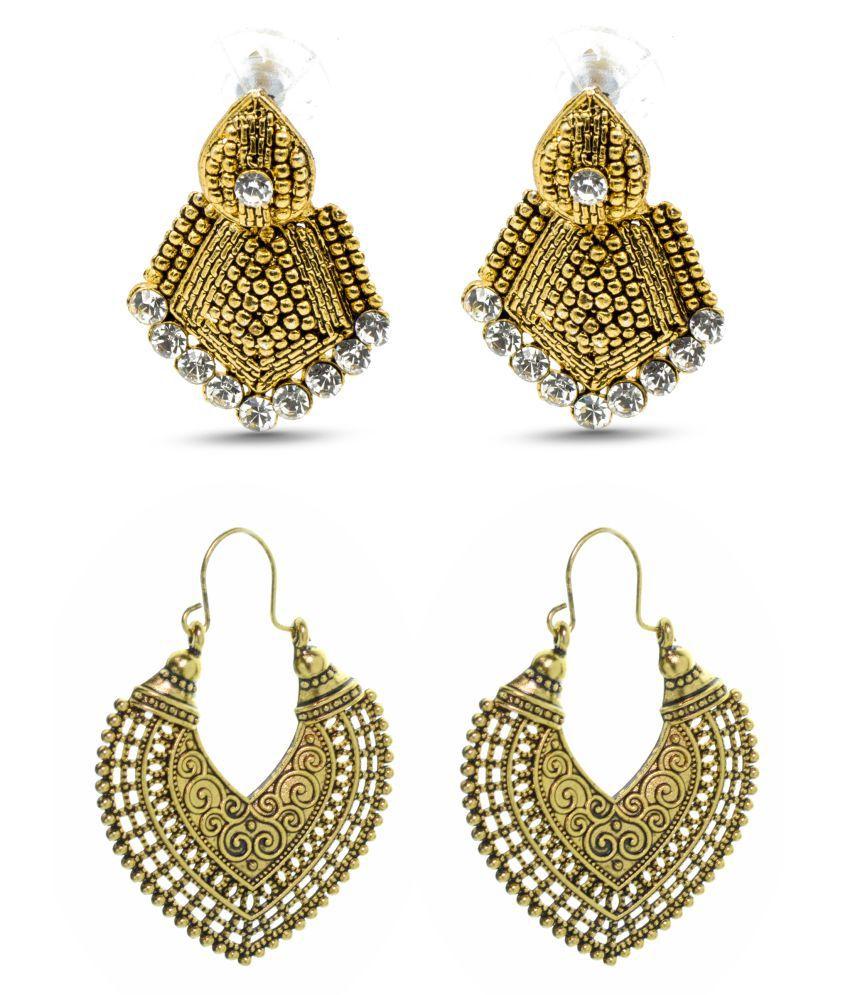 Three Shades Set of 2 pair of earrings Golden Heart Earring & Golden Triangle Drop Earring  For Girls & Women