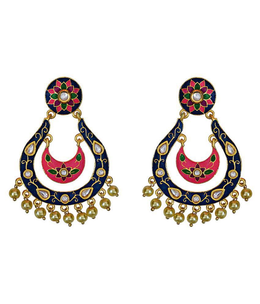 Designer meenakari kundan gold plated blue brass fashion dangler earrings fro women