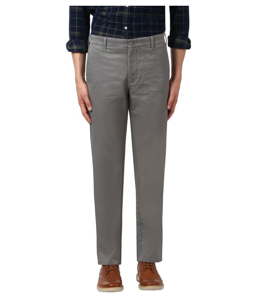 Colorplus Grey Slim -Fit Flat Trousers