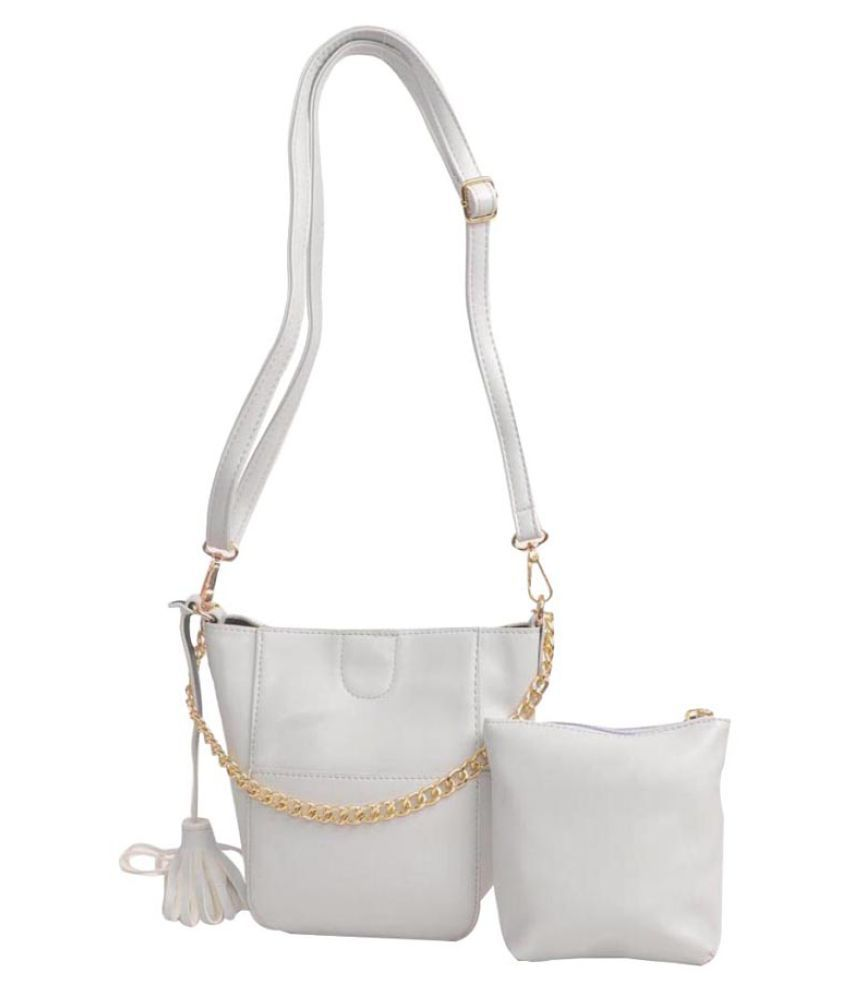 Aliado White Faux Leather Tote Bag
