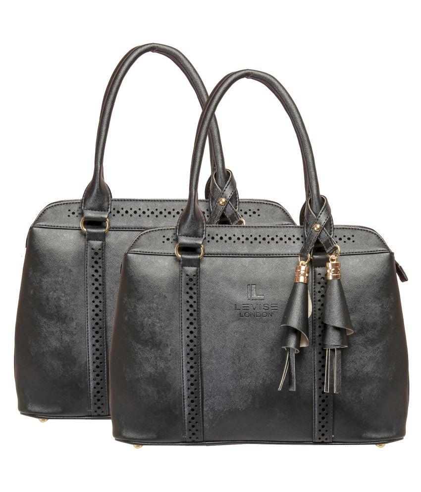 Levise London Black Artificial Leather Handheld