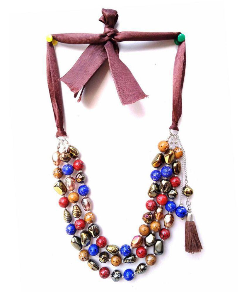 Marble pearl party wear necklace drop tassel