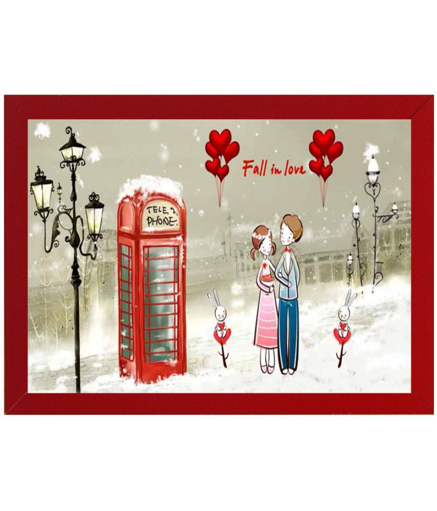 WENS MDF Valentine Painting With Frame (50.4cms x 35.3cms)