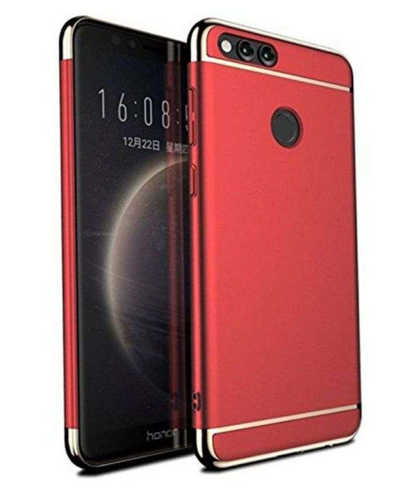 watch f1a73 cb9b4 Fleejost Honor 7X Back Case Cover 3-in-1 SHOCKPROOF* Back Cover Case For  Huawei Honor 7x - (Red)