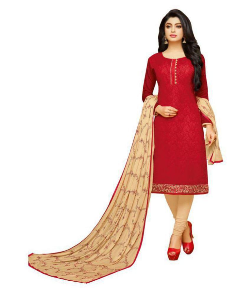 MF Red Cotton Dress Material