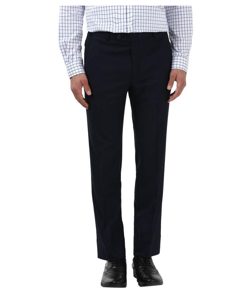Park Avenue Blue Slim -Fit Flat Trousers