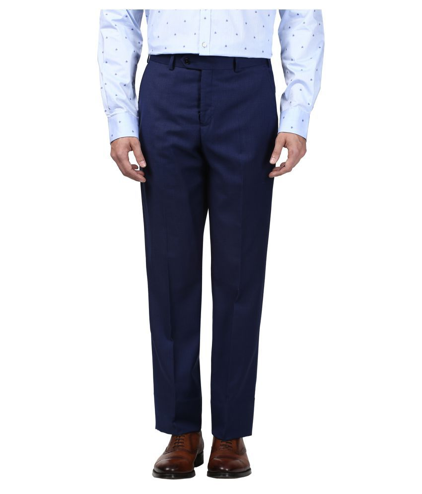 Park Avenue Blue Slim -Fit Flat Trousers