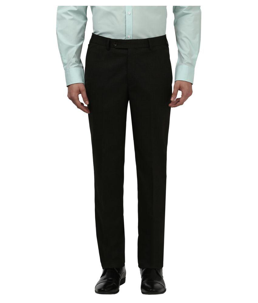 Park Avenue Brown Regular -Fit Flat Trousers