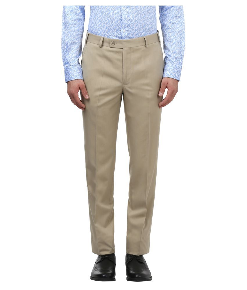 Park Avenue Brown Slim -Fit Flat Trousers
