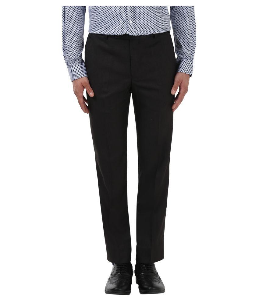 Park Avenue Brown Slim -Fit Flat Trousers